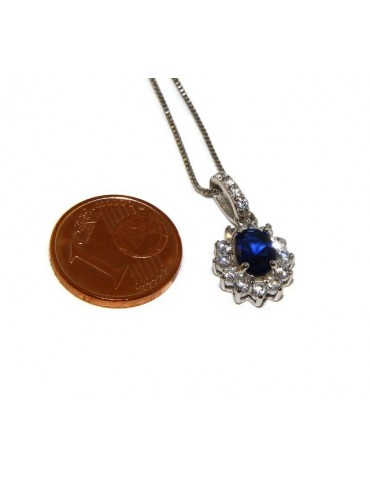 Parure 925 sterling silver pendant necklace jewelry lady oval pave 'zirconia and sapphire blue light point