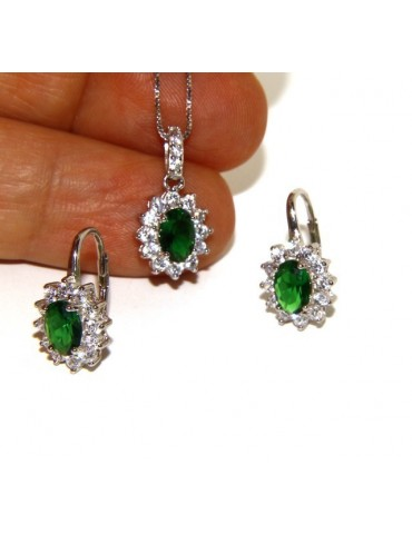 Parure 925 sterling silver pendant necklace jewelry lady oval pave 'zirconia and green emerald light point
