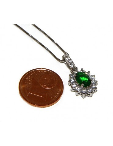 Parure argento 925 collana ciondolo orecchini donna oval pave' zirconi e punto luce verde emerald