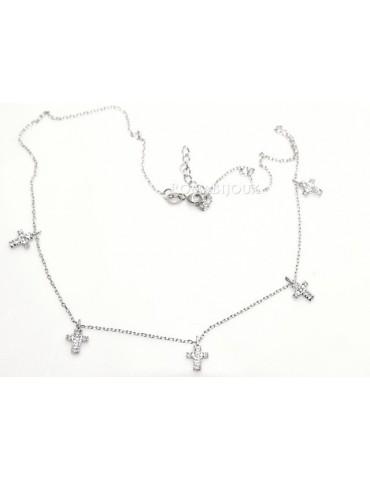 Argento 925 : Collana Collier donna 5 pendenti a giro croce con pavè zirconi aquamarine light