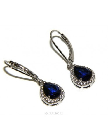925: earrings woman light point white and blue zircon sapphire, teardrop shape and fishhook security.