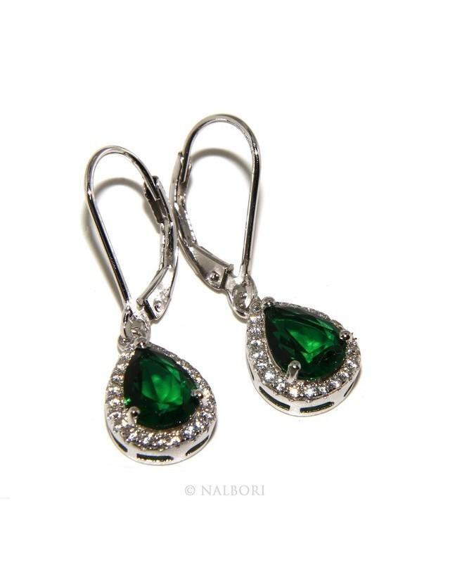 Argento 925 : orecchini donna punto luce zircone bianco e verde emerald goccia monachella sicurezza