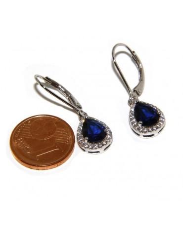 925: white zircon earrings woman point light green emerald drop fishhook Safety