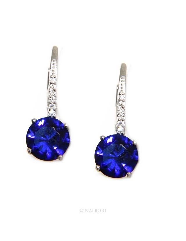 Argento 925 : orecchini donna punto luce zircone blu sapphire brillante 8mm monachella sicurezza