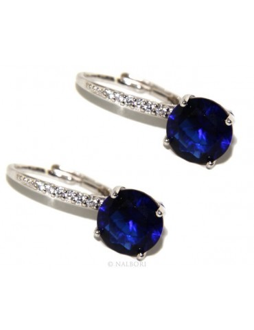 925: earrings zircon blue light point woman sapphire brilliant 8mm nun Safety