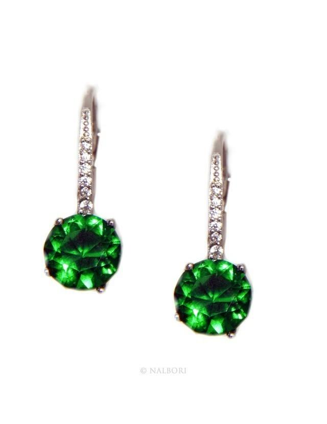 925: earrings zircon   light point woman green emerald brilliant 8mm nun Safety