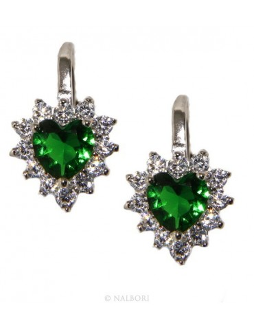 925: earrings woman point light emerald green zircon white heart nun Safety
