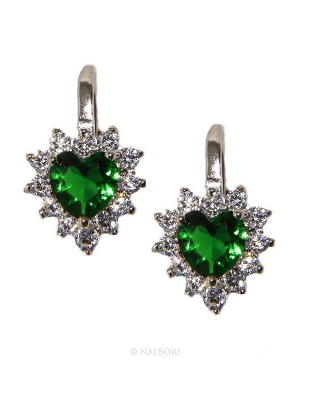 925: earrings woman point light emerald green zircon white heart nun Safety