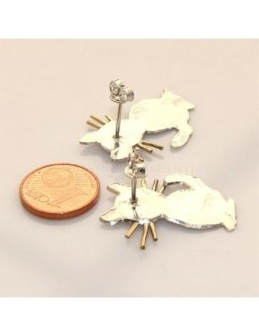argento 925 : orecchini GATTO gattini donna HAND MADE Massiccio argento 925 baffi lam oro