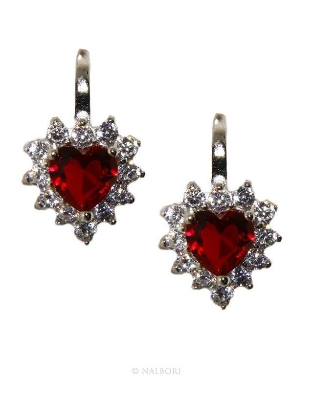 925: earrings woman point light blue sapphire  zircon white heart nun Safety