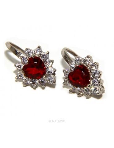 Argento 925 : orecchini donna punto luce zircone blu sapphire bianco cuore monachella sicurezza