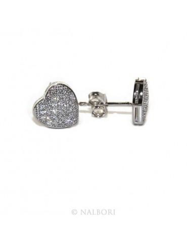 925: pair of earrings 9mm man woman button heart zirconia mircosetting