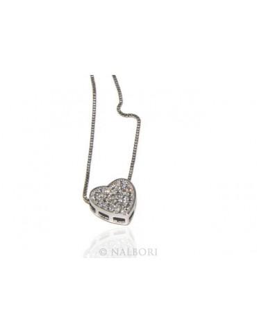 Argento 925 : Collana Collier donna cuore pavè di zirconi microsetting