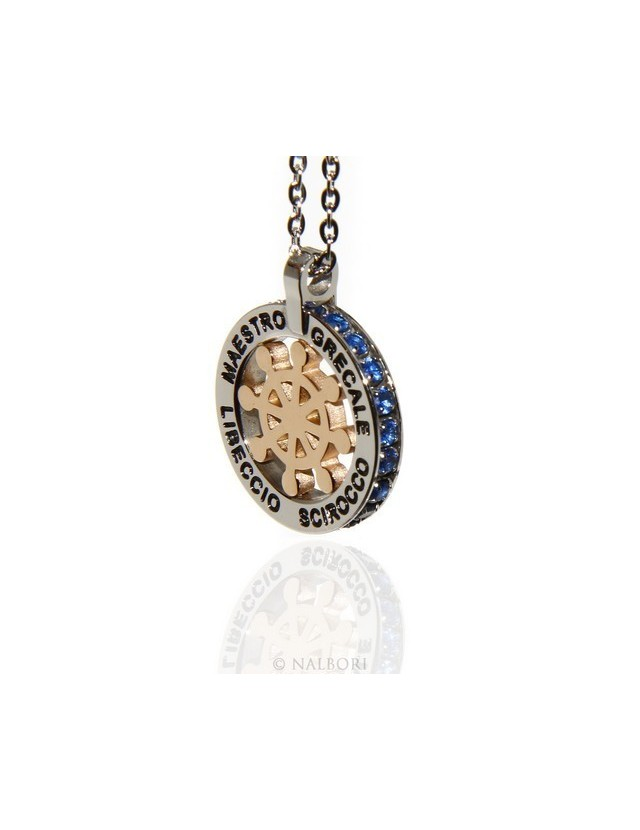 Steel: forzatina helm pendant necklace with round and twenty zircon gold blue