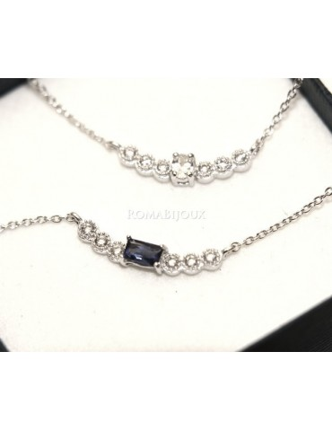 Argento 925 : Collana Collier donna centrale zirconi bianchi blu