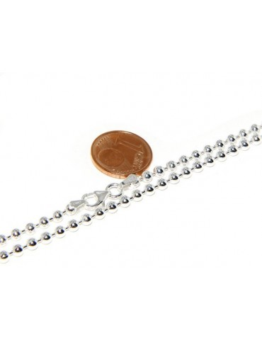 ARGENTO 925 : Girocollo collana pallini palline balls 3,0 mm varie lunghezze modello chiaro sbiancato