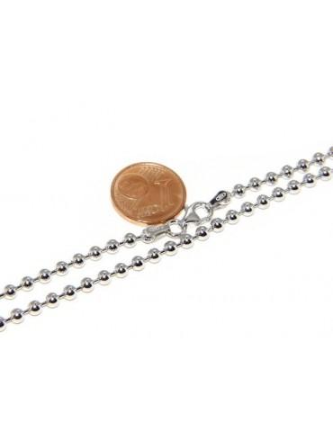ARGENTO 925 : Girocollo collana pallini palline balls 3,0 mm varie lunghezze modello rodio rodiato