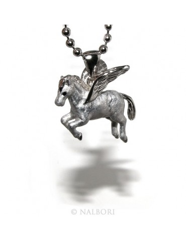 SILVER 925: 3 mm balls long necklace pendant Pegasus winged horse 3D enamelled