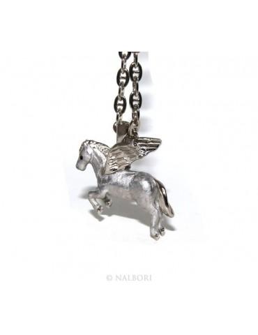 ARGENTO 925 : lunga collana forzatina 6x8 pendente pegaso cavallo alato 3D smaltato
