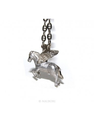 SILVER 925: long necklace pendant forzatina 6x8 winged horse Pegasus 3D enamelled