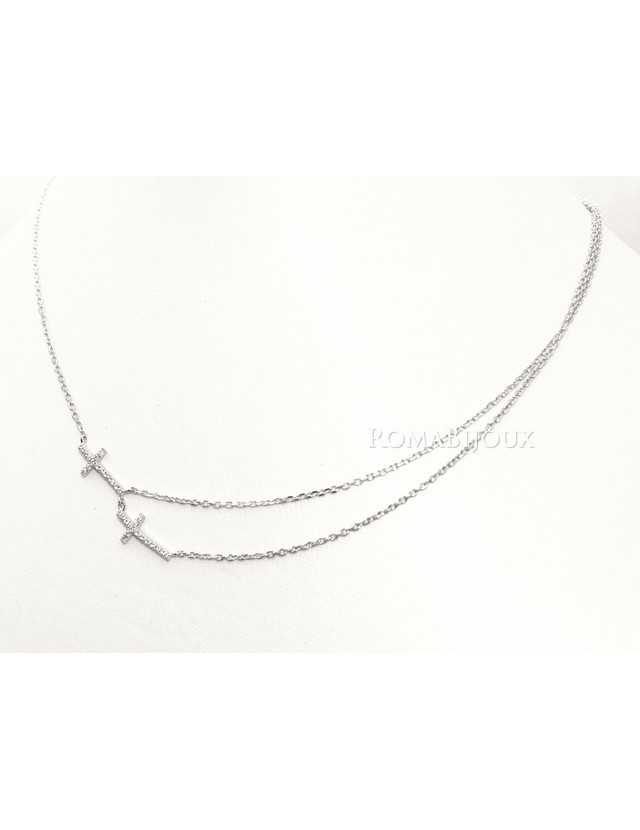Argento 925 : Collana Collier donna o uomo doppia catena e 2 croci pavè zirconi bianchi