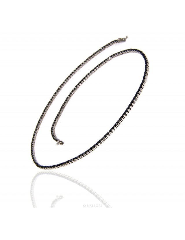 silver 925: Necklace Collier Tennis woman model with cubic zirconia blacks jaws 2.5mm brilliant cut