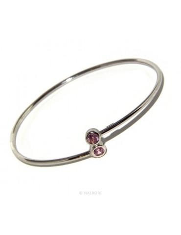 ARGENTO 925 : Bracciale donna schiava orecchini anello zirconi naturali rosa rosaline brillante