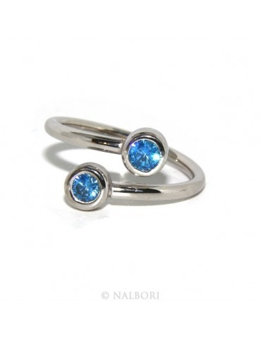 SILVER 925: Bracelet slave woman earrings natural zircons Ring   Blue light ultramarine - capri brilliant
