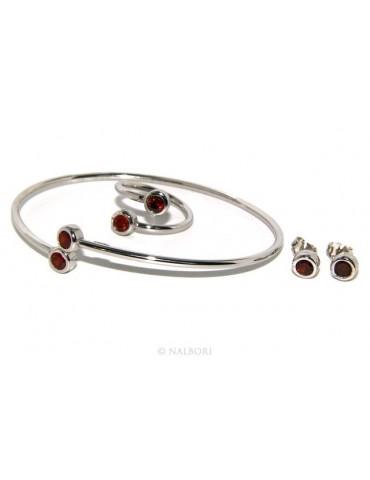 SILVER 925: Bracelet slave woman earrings natural zircons Ring  garnet red (ruby) brilliant