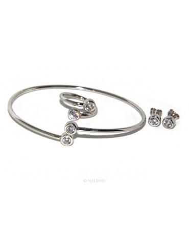 SILVER 925: Bracelet slave woman earrings natural zircons Ring  crystal white brilliant
