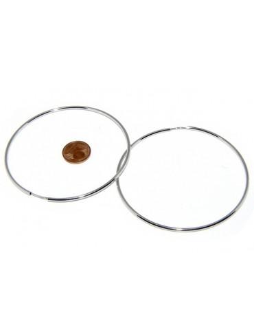 Argento 925 : orecchini donna anelle cerchi boccole lisce classiche 74 mm