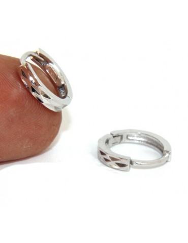 Argento 925 : orecchini massicci a scattino uomo o donna diamantati piccoli 12,5 mm(un paio)