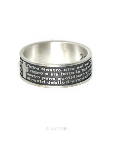 Ring 925 men women end our father prayer Italian
