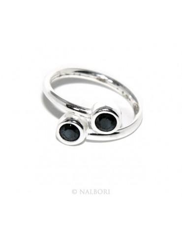 SILVER 925: Bracelet slave woman earrings natural zircons ring shining black blacks