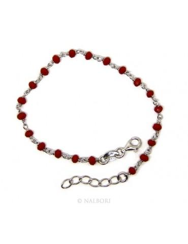 Bracciale uomo donna Argento 925 Con cristallo rosso 3/ 3,5 mm lavorazione rosario marsigliese fatto a mano