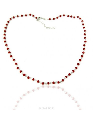 Necklace man woman 925 With red crystal 3.5 mm machining Marseille rosary handmade 45 + 5