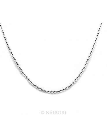 SILVER 925: Choker necklace dots balls balls 3.0 mm strung rhodium rhodium