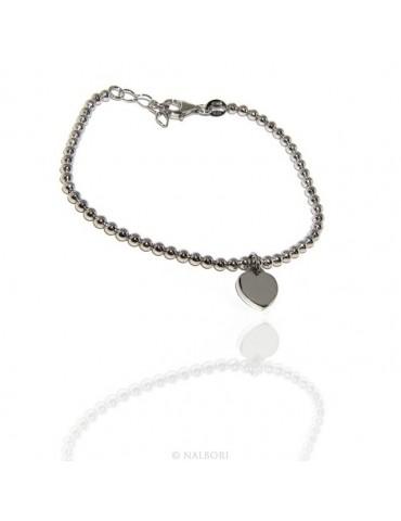 Bracciale a palline donna in Argento 925 con pendente ciondolo cuore liscio