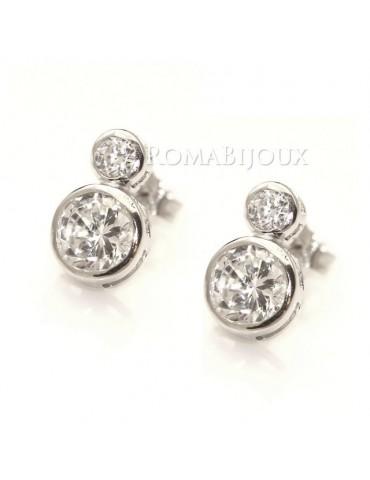 Argento 925 : orecchini donna stud doppio punto luce cipollina 3 e 6 mm zirconi bianchi
