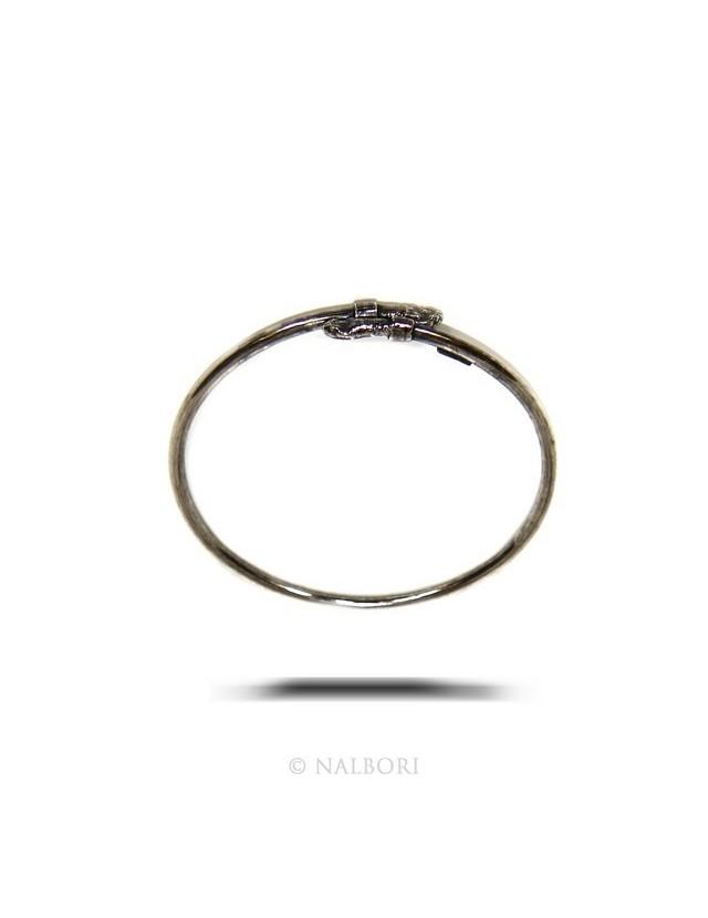 ARGENTO 925 : Bracciale uomo o donna schiava aperto SERPENTE brunito - Simboli di Nalbori