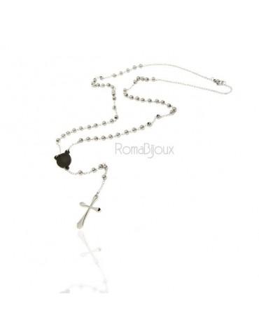 Acciaio : Collana uomo donna rosario pallini crociera nera e croce lobata liscia