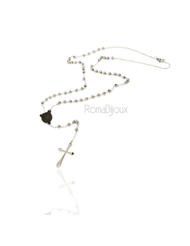 Steel: Necklace man woman rosary black dots cruise and smooth cross lobata