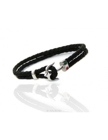 SILVER 925: massive leather bracelet man anchor made in Italy - BLACK