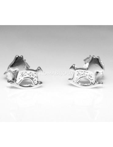 Argento 925 : orecchini donna ragazza bambina stud cavallo a dondolo pave' di zirconi bianchi