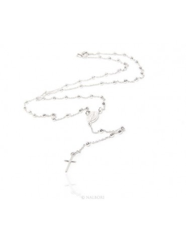 Rosary Necklace man or woman in 925 balls 3 mm clear smooth cross
