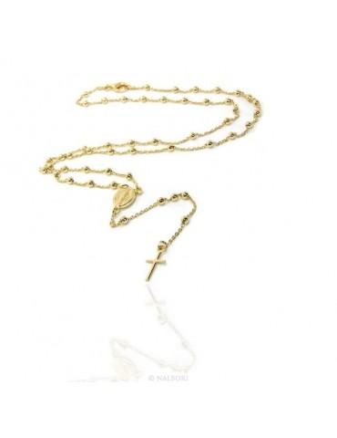 Collana rosario uomo o donna in Argento 925 palline 3 mm croce liscia bagno oro giallo