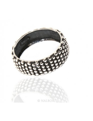 NALBORI Ring Silver 925 Faith record studded blasted massive dark Sardinian 8 mm for men or women