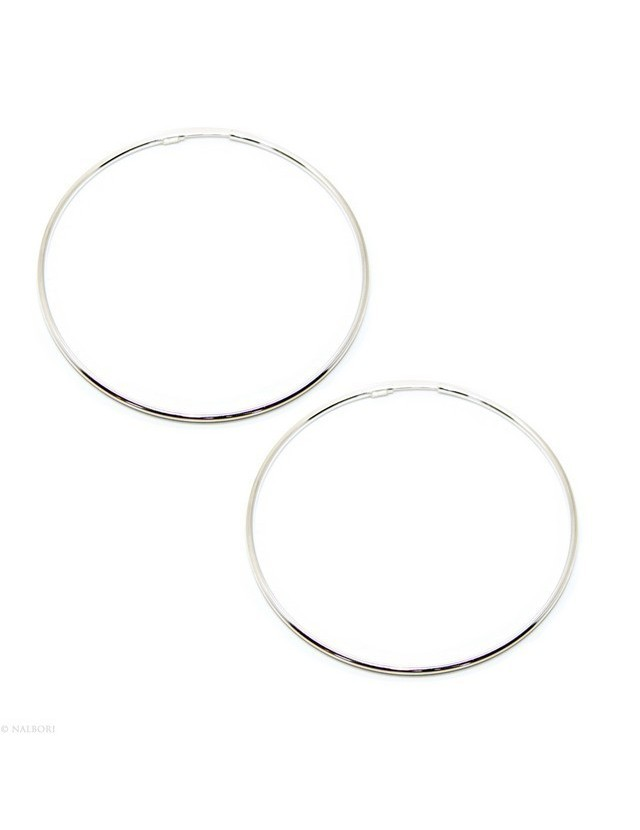 925: Women's earrings anelle circles classic smooth bushings 71 mm light silver