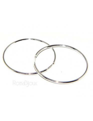 light silver 925: Women's earrings anelle circles classic smooth bushings 46 mm