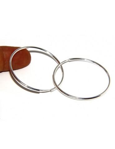Argento 925 : orecchini donna anelle cerchi boccole lisce chiare classiche 46 mm